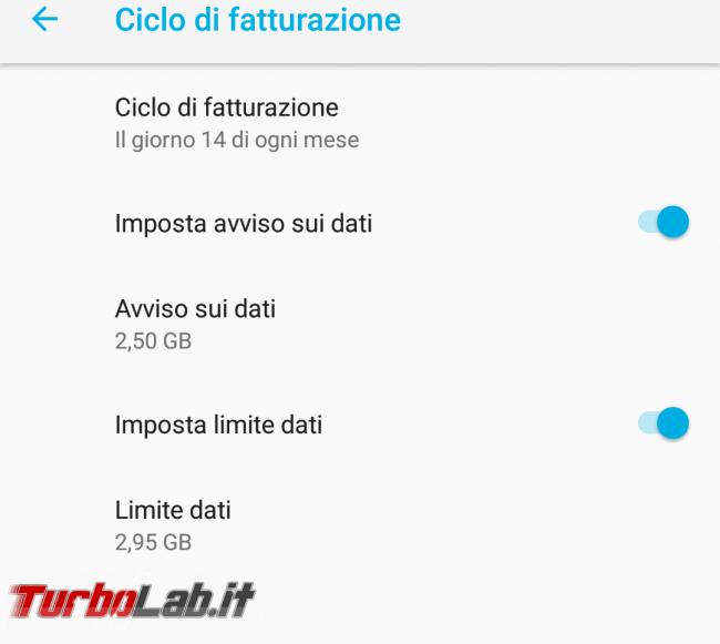 Guida Android: come impostare limite giga consumati rete mobile 4G (Iliad, TIM ecc.) - Screenshot_Impostazioni_20180602-120840