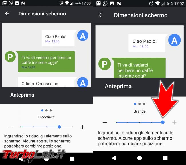Guida Android: come ingrandire caratteri testo troppo piccoli? - Android Dimensioni schermo