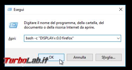 Guida Bash Windows 10 (WSL): come eseguire programmi Linux/Ubuntu interfaccia grafica (GUI) - esegui firefox wsl