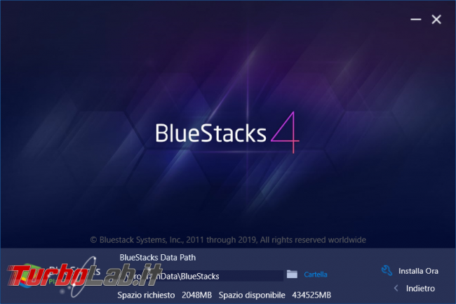 Guida BlueStacks 4, emulatore Android PC Windows - bluestacks setup custom