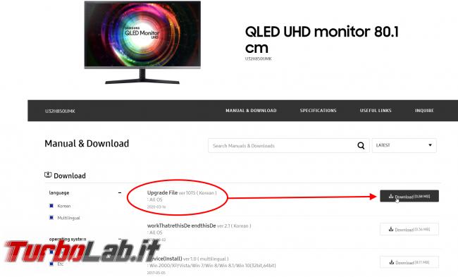 [guida] Come aggiornare firmware monitor Samsung file koreano (schermo modello U32H850 altri)