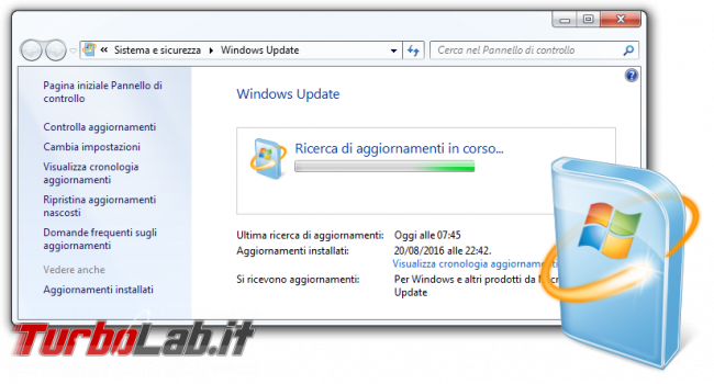 Guida: come aggiornare gratis Windows 10 2020 (video) - Windows Update Windows 7 Ricerca di aggiornamenti in corso...
