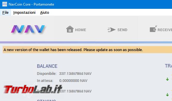 Guida: come aggiornare NavCoin Core (wallet Nav Coin) modo corretto sicuro
