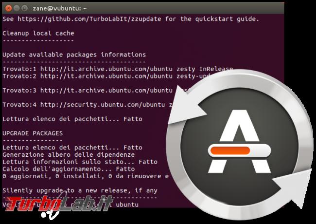 Guida: come aggiornare Ubuntu 18.10 (Cosmic Cuttlefish) linea comando (terminale Ubuntu Server) - zzupdate spotlight