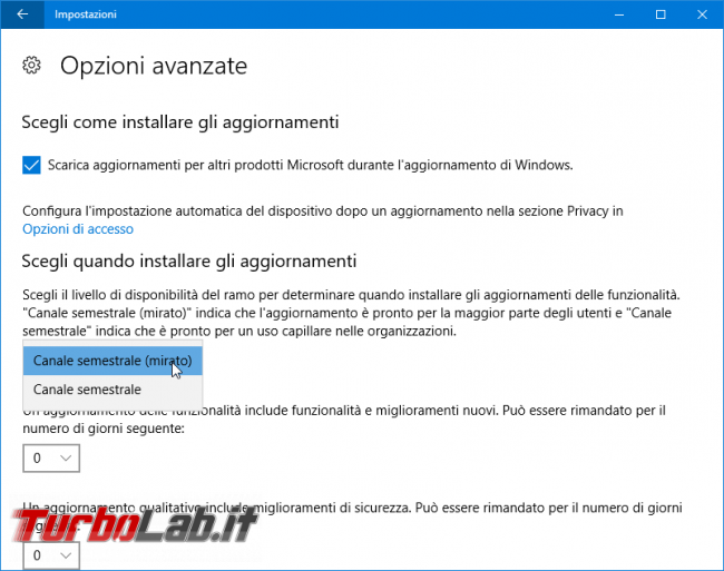 Guida: come bloccare aggiornamento automatico Windows 10 1809 (Ottobre 2018) Home Pro - windows update opzioni avanzate