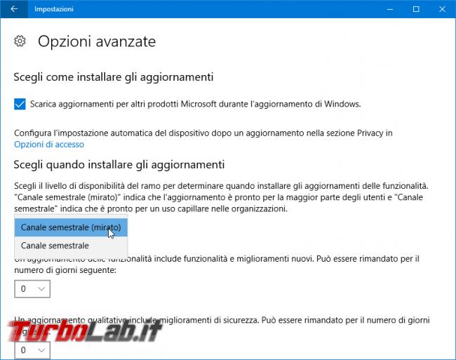 Guida: come bloccare aggiornamento automatico Windows 10 1909 (Novembre 2019) Home Pro - windows update opzioni avanzate
