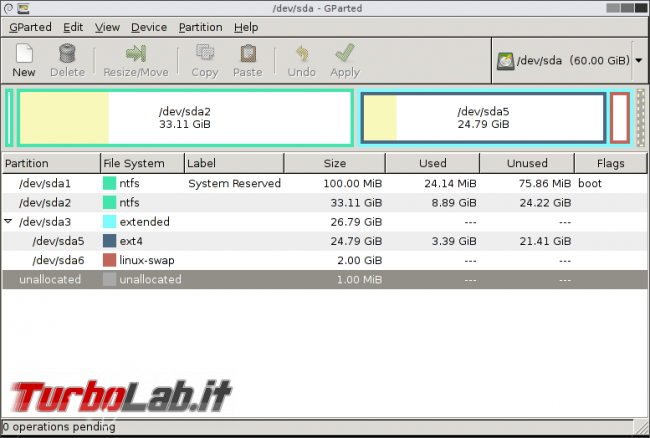 Guida: come convertire disco / SSD MBR GPT Gparted (Live CD/USB) - gparted-main-window