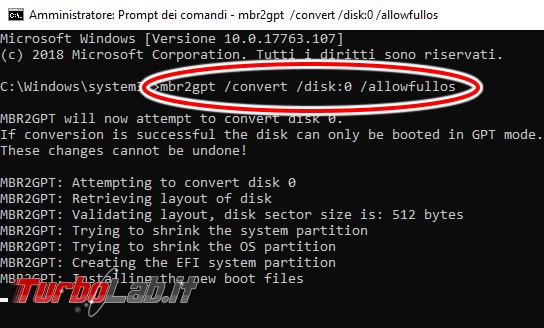 Guida: come convertire disco / SSD Windows 10 MBR GPT senza cancellare, formattare, eliminare partizioni file MBR2GPT
