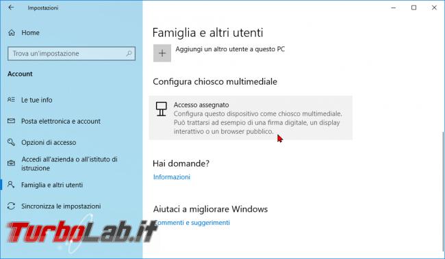 Guida: come creare punto informazioni Windows 10 (modalità chiosco, eseguire singola app fullscreen) - modalità chiosco windows 10 (1)