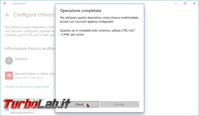Guida: come creare punto informazioni Windows 10 (modalità chiosco, eseguire singola app fullscreen) - modalità chiosco windows 10 (3)
