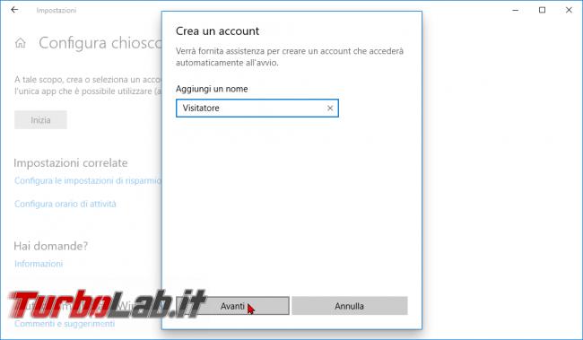 Guida: come creare punto informazioni Windows 10 (modalità chiosco, eseguire singola app fullscreen) - modalità chiosco windows 10 (5)