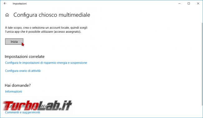 Guida: come creare punto informazioni Windows 10 (modalità chiosco, eseguire singola app fullscreen) - modalità chiosco windows 10 (6)
