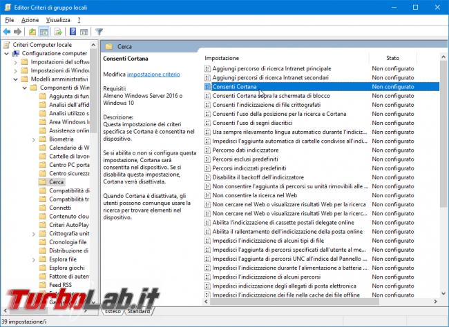Guida: come disattivare Cortana Windows 10 2004 (Maggio 2020, bloccare Cortana.exe disinstallare app)