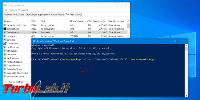 Guida: come disattivare Cortana Windows 10 2004 (Maggio 2020, bloccare Cortana.exe disinstallare app) - zShotVM_1591091512
