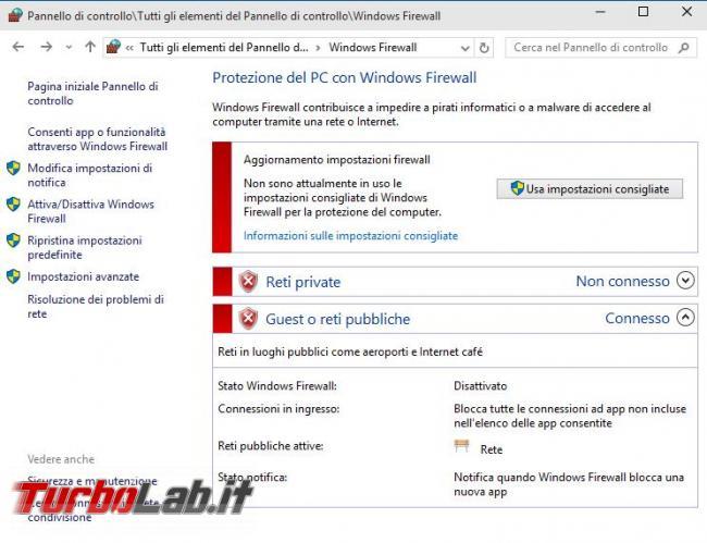 Guida: come disattivare Windows Firewall