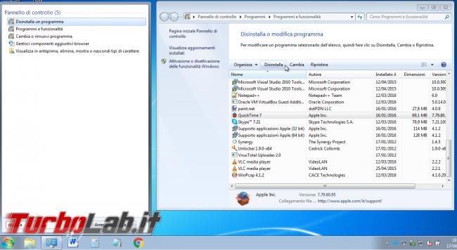 Guida: come disinstallare QuickTime Windows (è pericoloso! fallo subito!) - distinstallazione quicktime