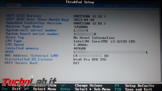 Guida: come entrare BIOS / UEFI / firmware notebook / PC (portatile) - Windows 10, Lenovo, HP, Dell, Asus, Acer, Sony, Samsung, Toshiba, Surface - bios uefi thinkpad lenovo
