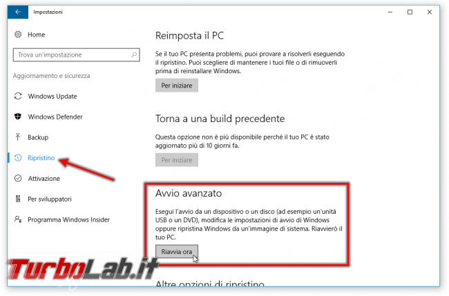 Guida: come entrare BIOS / UEFI / firmware notebook / PC (portatile) - Windows 10, Lenovo, HP, Dell, Asus, Acer, Sony, Samsung, Toshiba, Surface - windows 10 impostazioni avvio avanzato