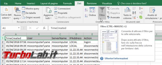 Guida: come filtrare righe Excel, OpenOffice LibreOffice