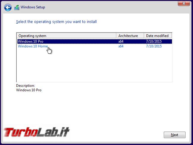 Guida: come formattare reinstallare Windows 10 - windows 10 setup scelta edizione