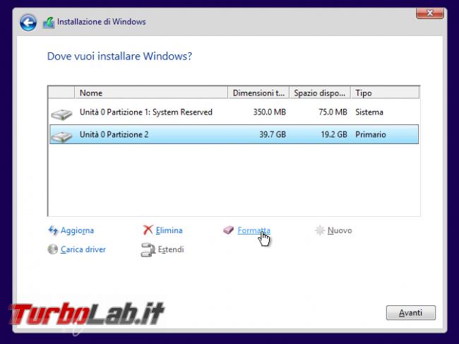 Guida: come formattare reinstallare Windows 10 - WinSetup 11 lista partizioni