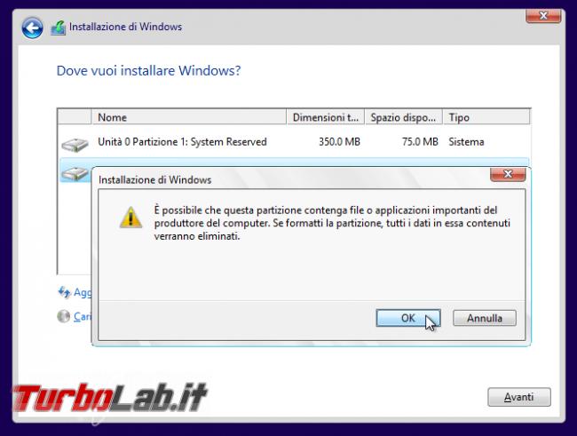 Guida: come formattare reinstallare Windows 10 - WinSetup 12 conferma formattazione
