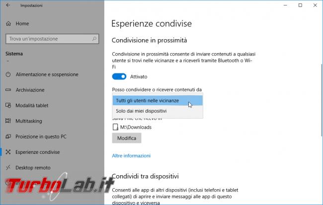 Guida: come inviare file PC Windows 10 Bluetooth Wi-Fi diretto (Condivisione prossimità)