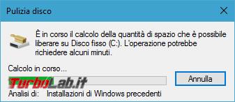 Guida: come liberare 20 GB spazio dopo aggiornamento Windows 10 1809 (Ottobre 2018) - pulizia disco analisi