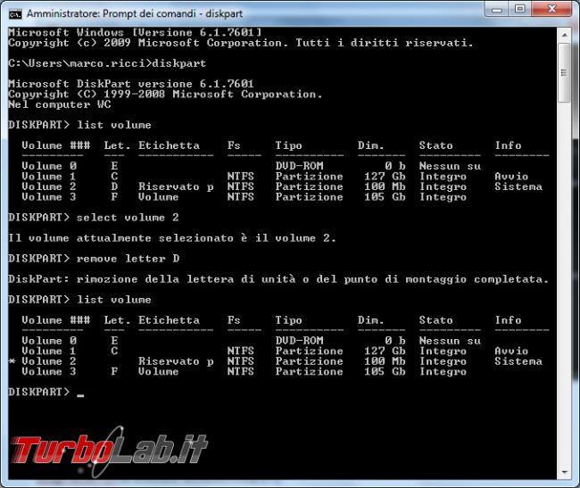Guida: come nascondere disco / partizione Windows linea comando mountvol (comando singolo)