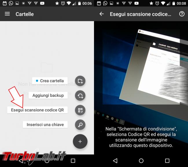 Guida: come sincronizzare cartella foto (DCIM) Android PC - resilio sync scan qr