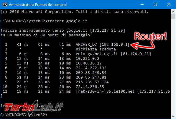 Guida: come trovare indirizzo IP modem/router L/mobile/4G aprire pagina configurazione - tracert google.it primo hop