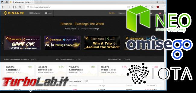Guida comprare NEO guadagnare generando GAS (coin/token criptovaluta) - binance spotlight