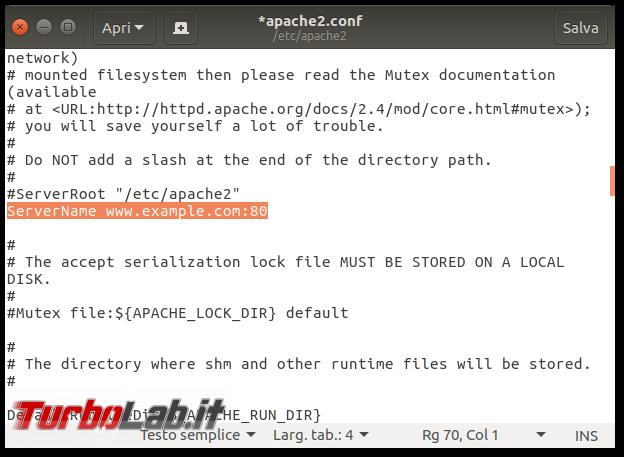 Guida definitiva: come installare Apache Ubuntu CentOS (server Linux, linea comando) - apache servername