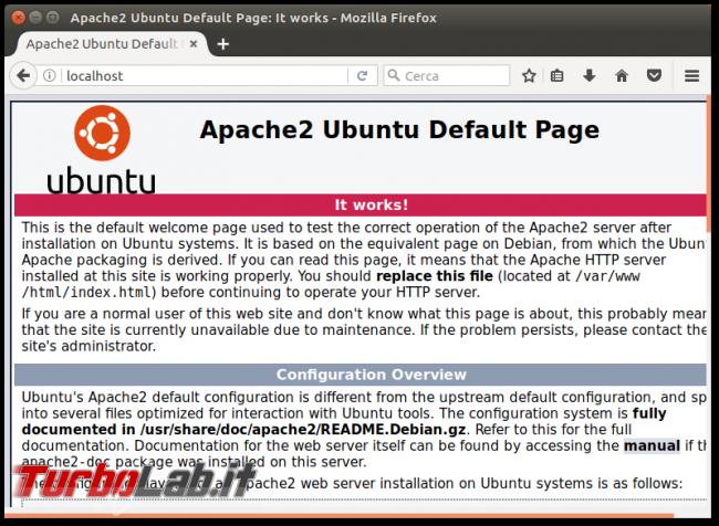 Guida definitiva: come installare Apache Ubuntu CentOS (server Linux, linea comando) - apache2 ubuntu default page