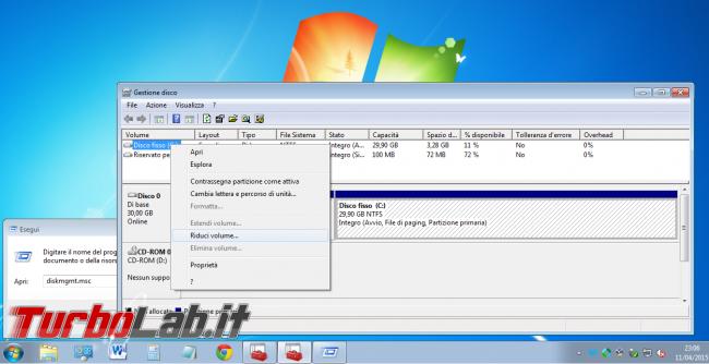 Guida dual-boot: installare Windows 10 Windows 7 stesso computer ( modo più facile possibile) - windows gestione disco riduci volume partizione