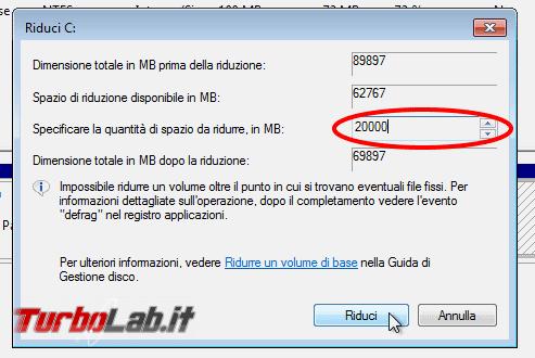Guida dual-boot: installare Windows 10 Windows 7 stesso computer ( modo più facile possibile) - windows gestione disco riduci volume partizione dialog