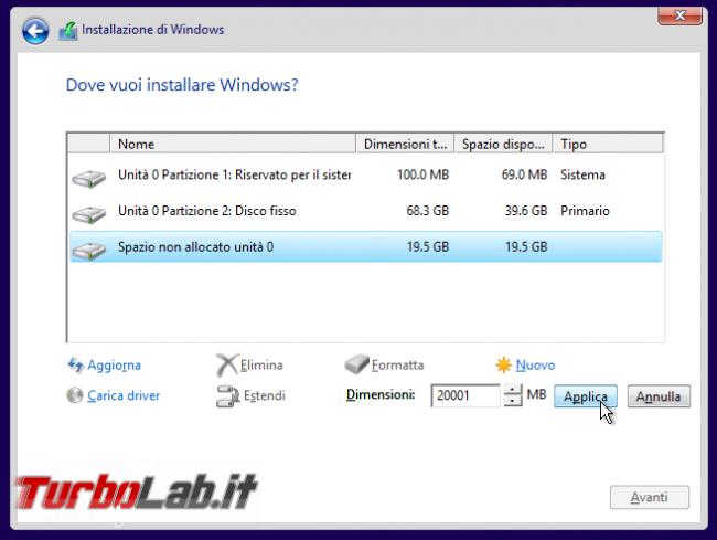 Guida dual-boot: installare Windows 10 Windows 7 stesso computer ( modo più facile possibile) - windows setup partizione nuovo