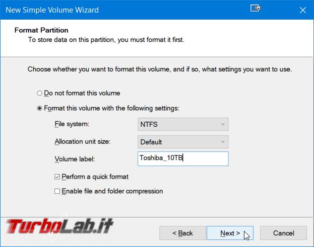 Guida facile Windows 10: come creare partizione hard disk / SSD senza programmi aggiuntivi - Windows gestione dischi nuovo volume semplice wizard (3)
