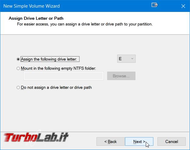 Guida facile Windows 10: come creare partizione hard disk / SSD senza programmi aggiuntivi - Windows gestione dischi nuovo volume semplice wizard (4)