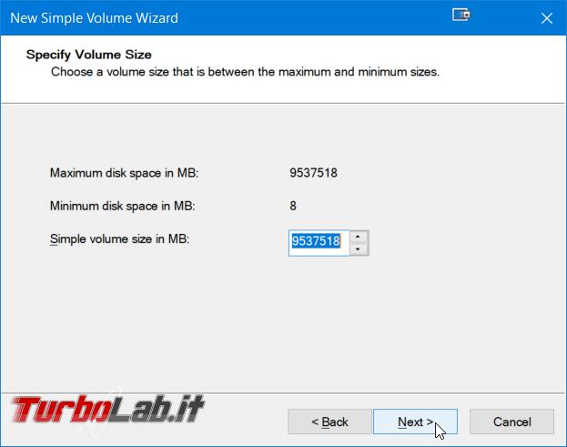 Guida facile Windows 10: come creare partizione hard disk / SSD senza programmi aggiuntivi - Windows gestione dischi nuovo volume semplice wizard (5)