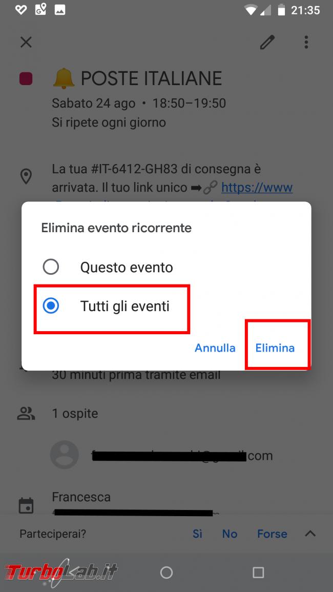 Guida Google Calendar: come bloccare strani appuntamenti inviti-truffa