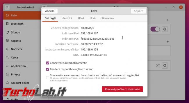 Guida: impostare manualmente indirizzo IP statico rete Ubuntu 20.04