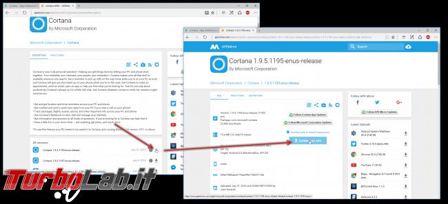 Guida: installare Cortana Android Italia (APK originale Microsoft) - cortana apkmirror