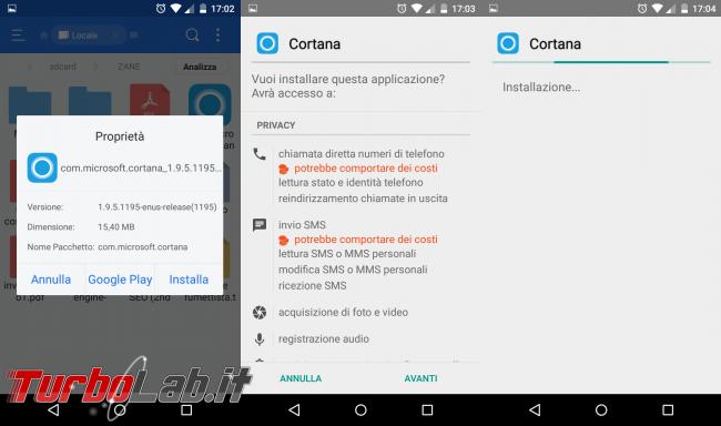 Guida: installare Cortana Android Italia (APK originale Microsoft) - installazione cortana apk android