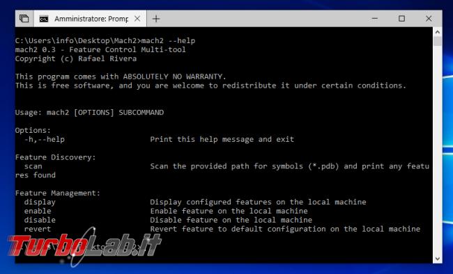 Guida Mach2 Windows 10: come forzare attivazione Set altre funzioni nascoste
