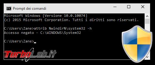 Guida Mach2 Windows 10: come forzare attivazione Set altre funzioni nascoste - Prompt dei comandi accesso negato