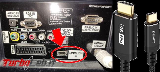 [guida] notebook USB Type-C monitor HDMI: come collegare PC portatile TV schermo esterno - cavo USB Type-C HDMI