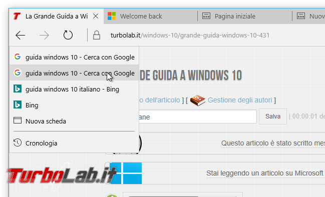 "Guida novità Microsoft Edge Windows 10 ""Anniversary Update"" (versione 1607, ""Redstone"") - microsoft edge windows 10 1607 destro frecce"