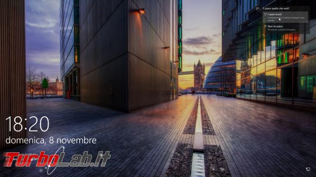 Guida novità Windows 10 1511, aggiornamento novembre (autunno 2015) - schermata di blocco windows spotlight contenuti in evidenza
