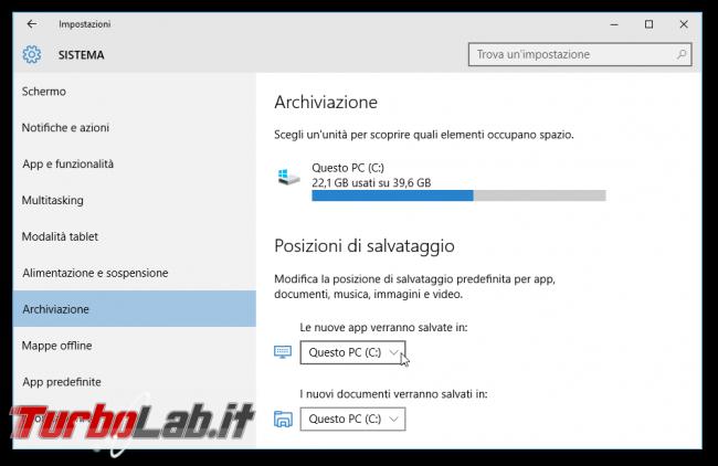 Guida novità Windows 10 1511, aggiornamento novembre (autunno 2015) - windows 10.1 posizioni di salvataggio app
